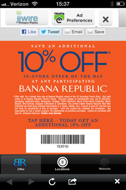 Banana republic unveils innovation in mobile advertising for Discount mobili on line